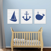 Nautical Nursery Art Print, Baby Boy Nautical Wall Art, Boys Bedroom Decor, Whale, Sailboat, Anchor - B168,169 &170-Custom Colour - Unframed