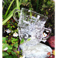 Federal Glass Punch Bowl and 12 Cups, Thumbprint or Colonial Pattern