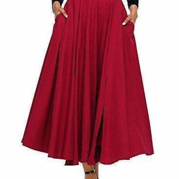 Fiyote Women Front Slit Ankle Length High Waist Maxi Skirt Xx-Large Size Red
