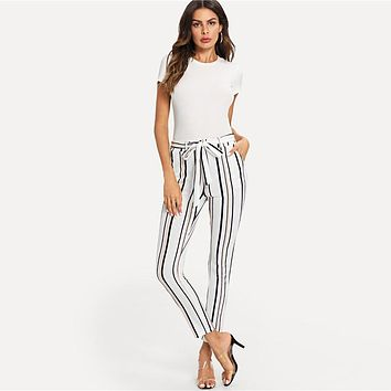 BLACK & PEACH STRIPE ARE SO RIGHT ANKLE PANTS