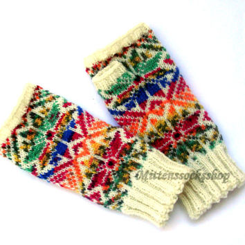 Fingerless gloves Arm warmers Hand warmers Wrist warmers Texting gloves Hand Knitted Fingerless mittens Patterned rainbow fingerless gloves