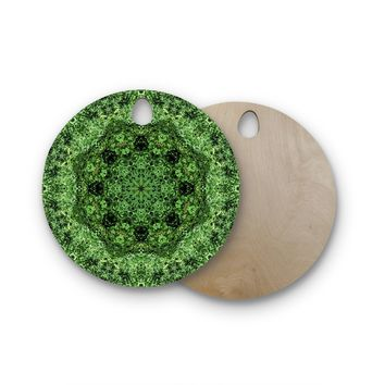 "Nick Nareshni ""Green Forest Mandala"" Green Black Geometric Round Wooden Cutting Board"