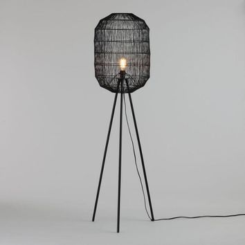 Matte Black Tripod Floor Lamp with Woven Rope Lamp Shade Set