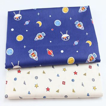 Brand New Design Space Travel Rocket & Star 100% Cotton Fabric For DIY Sewing Bedding Quilting Decoration