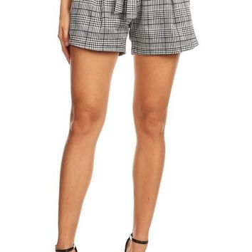 Checker Fashion Shorts with Ribbon Tie Front
