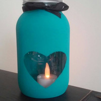 Beautiful Blue Mason Jar Candle Holder Decor with Heart