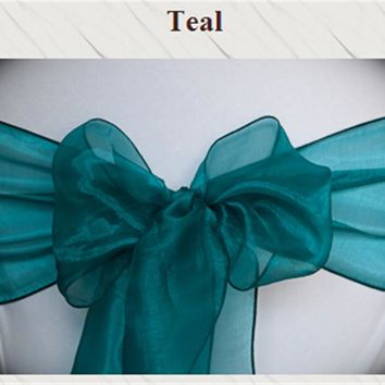 100PCS Wedding  peacock color  Organza  Chair Sashes Bow for Banquet decoration FREE SHIPPING