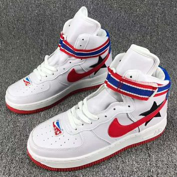 NIKE AIR Force 1 High Tops Contrast Sports shoes Black White red G-CSXY