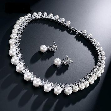 Trendy Imitation Pearl Bridal Wedding Jewelry Sets AAA Cubic Zircon Earrings Necklace