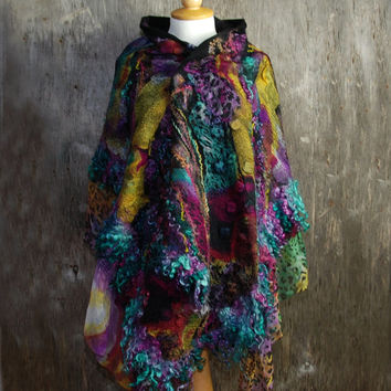 Nuno Felted scarf felt scarf felted shawl  wool locks merino wool silk black pink turquoise yellow multicolor scarf felted art  winter scarf