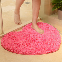 Love Heart Shape Bathroom Carpet,Pink Green Red Bath Mats Doormat,Tapete Para Quarto,Non-sllip Chenille Bedroom Rug Floor Mat