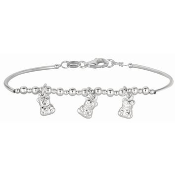 Silver Rhodium Finish Shiny Curve Bar+Diamond Cut Bead Children Bracelet with Pear Shape Clasp+3 Bear Charm