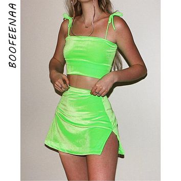 BOOFEENAA 2019 Summer Two Piece Outfits Velvet Hot Pink Neon Green 2 Piece Set Crop Top and Mini Skirt Matching Sets C66-AA02