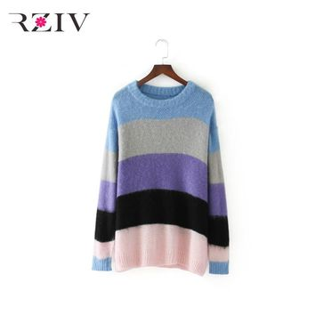 RZIV 2017 autumn female sweater casual loose sweater rainbow stripes