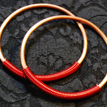 "Coil Closure Copper and Wire Hoops - Earrings for Stretched Lobes - Gauges - 1.5"" Diameter"