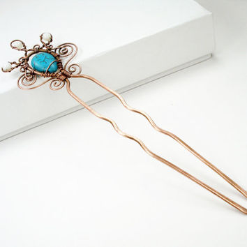 Turquoise hair pin, wire wrap copper pin, hair accessory, copper wire pin, vintage hair pin, hair stick pin, copper stick pin, boho hair pin