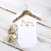 Girls Personalized Onesuit | Personalized Gold Sparkly Name Onesuit or Shirt w/ Gold Arrow