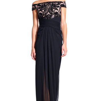 Adrianna Papell - AP1E200066 Off Shoulder Sequin Draped Evening Gown