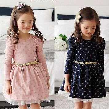 Baby Princess Girls Lace Polka Dot Long Sleeve Party Gown Formal Dress With Belt
