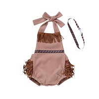Newborn Baby Boy Girl Clothes Tassel Romper Baby Backless Halter Jumpsuit Outfits