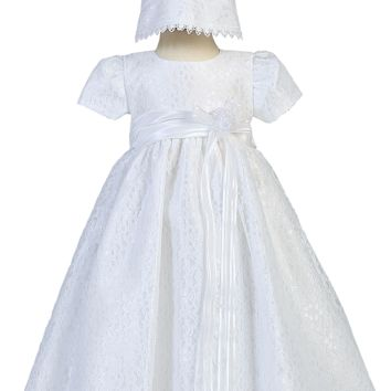 Floral Lace Tulle Overlay Christening Dress with Satin Waist - Baby Girls Newborn - 18 months