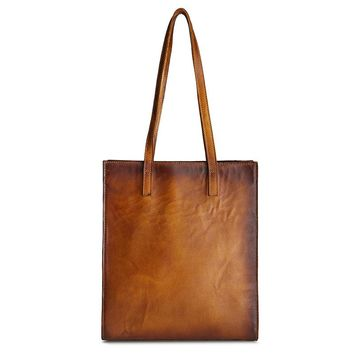 Distressed Genuine Leather Tote Bag