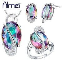 Almei Pendant Earrings Ring Crystal 925 Sterling Silver Bijoux African Mystic Jewlery Set Wedding Necklaces T472