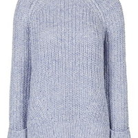 Tweedy Oversized Rib Crew Neck Jumper - Pale Blue