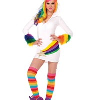 Cozy Unicorn, Features Zipper Front Shooting Star Fleece Dress With Furry Rainbow Cuffs, Attached Authentic Unicorn Fur Tail, And Mystical Horn Hood With Glorious Mane (Small,White)