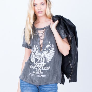 Lace-Up Graphic Tee