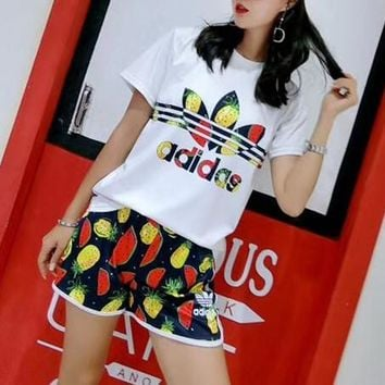 """Adidas"" Women Casual Fashion Multicolor Pineapple Watermelon Letter Logo Print Short Sleeve Shorts Set Two-Piece Sportswear"