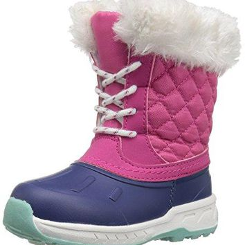 carter's Girls' Vermont2 Cold Weather Snow Boot, Navy/Pink, 11 M US Little Kid