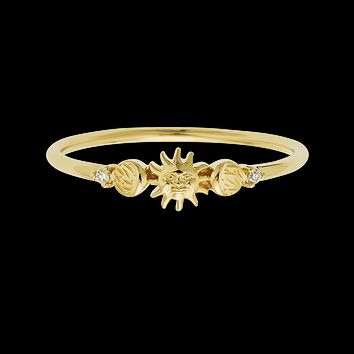 14kt Forever Sun Moon and Star Ring