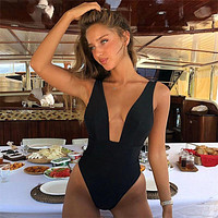 High Cut Swimwear Women 2019 Solid One Piece Swimsuit Female High Waist Monokini V-Neck Sexy Bathing Suit Swim Suit Black Red