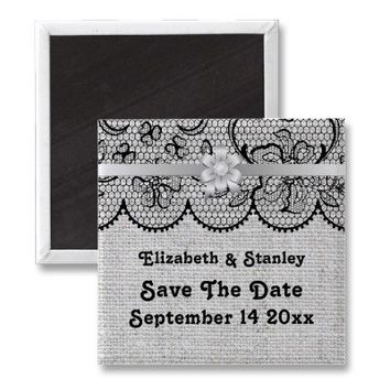 Black lace, gray burlap wedding Save the Date Refrigerator Magnets from Zazzle.com