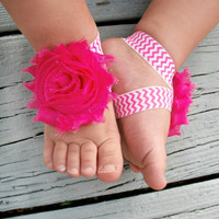 Baby Barefoot Sandals .. Hot Pink Flower on Chevron Elastic .. Toddler Sandals .. Newborn Sandals