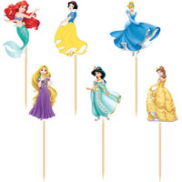 72pcs/lot Cinderella Princess wedding decoration cake Topper Picks baby shower girl's wedding party kids birthday party supplies