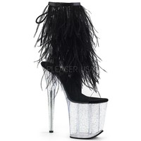 "Flamingo 1017 MMF  Fur Feather Fringe Top  8"" Heel Ankle Boot Black"