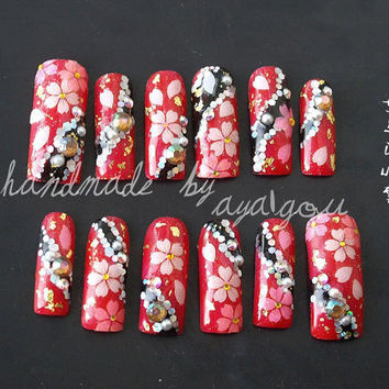 Sakura, cherry blossom, Japanese nail art, long finger nails, black and red, floral pattern nails