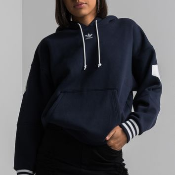 adidas Long Sleeve Striped Cuff Back Logo Trefoil Hoodie in Legink