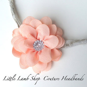 Fancy Flower Newborn Lavender Tieback Newborn by littlelambshop