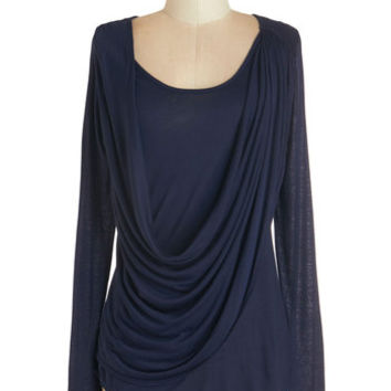 ModCloth Long Sleeve Draped in Delight Long-Sleeved Top in Dusk