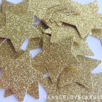 25 Gold Glitter Star Punch Die Cuts 1 3/8 inch - Embellishment, cards, scrapbook, table decoration, confetti