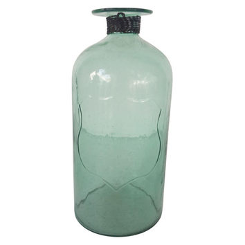 Glass Bottle w/Iron Braid, Green, Small, Jars, Canisters, Tins & Bottles