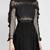 Black Ruffle Trim Lace Panel Long Sleeve Mini Dress