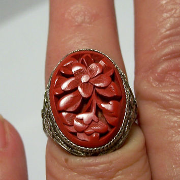Vintage Chinese Export Cinnabar Ring,Carved Cinnabar Ring, Silver Cinnabar Ring,Cinnabar Flower Ring,Cinnabar Filigree Silver Ring,Ring 8