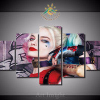 5 Pieces/set Suicide Squad Harley Quinn Wall Art Paintings
