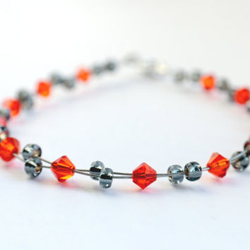 orange bracelet, grey bracelet, multi wire bracelet, swarovski crystal bracelet