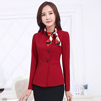 Fashionable Oblique Button Suit Long Sleeved Airline Uniforms Occupation Overalls Slim Business Skirt Suits For Women