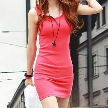 Red Sleeveless Round Collar Mini Dress